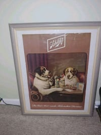 Vintage Framed Schlitz Beer Dogs Playing poker Pri Silver Spring, 20902