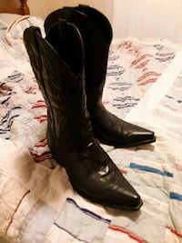 Pair of black leather cowboy boots, in good Condit