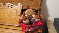 CHRISTMAS RABBIT FAMILY IN WHITE BASKET Lynchburg