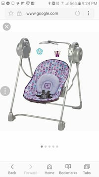 toddler's gray and purple portable swing chair screenshot