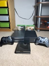 Black xbox one console Halo 5 Limited Edition with controllers and game cases Edmonton, T6L 6E4
