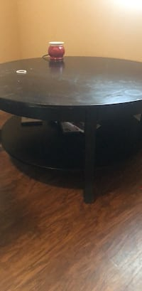 Round black wooden coffee table Norman, 73069