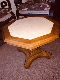 "MARBLE PEDESTAL COFFEE TABLE IN FRUITWOOD 16x22""FRUITWOOD STURDYMARBLE"