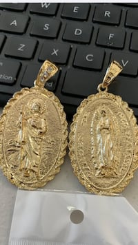 18k GPL San Judas And Lady de Guadalupe Large Double Sided Pendant