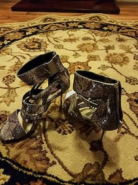 silver-and-brown snakeskin leather strap zip-back stiletto sandals