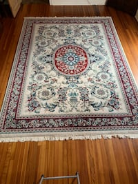 White, red, and teal floral area rug Baton Rouge, 70808