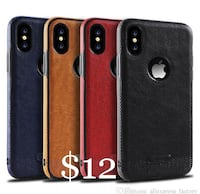 black, red, brown, and blue leather iPhone X cases Montréal, H3N 1A6