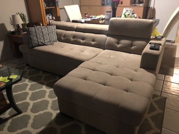 gray fabric tufted sectional sofa