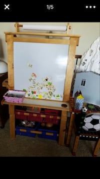Easel childrens.  Bought at Toys R Us paid $100.00 has storage bins for crayons, books it is chalk board and white board.   Serious Buyers Only Please don't waste my time. Goodyear, 85338