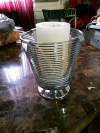 """Glass candle holder with a tall candle H-10"""", NEW  London, N6K 2V8"""
