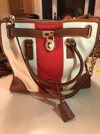 pink and white leather 2-way bag Sherwood No. 159, S4M 0E8