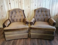 two brown wooden framed gray padded armchairs Heath, 43056