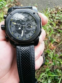round black chronograph watch with black leather strap Allentown, 18103