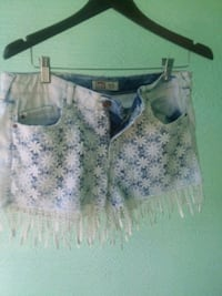 white and blue floral embroidered Jean's shorts