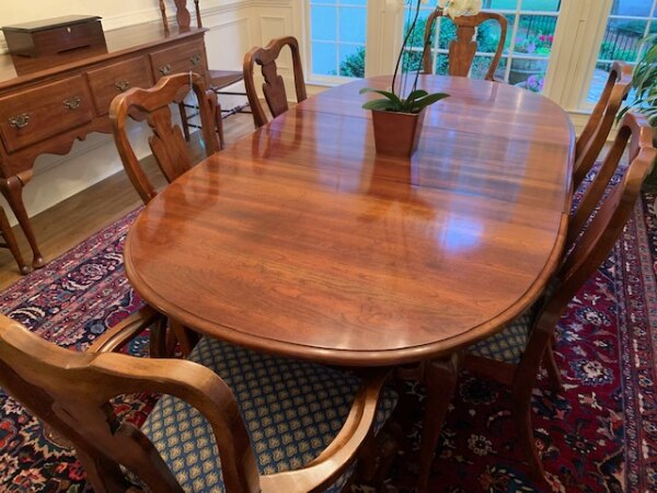 Peachy Solid Cherry Dining Room Table 8 Chairs And Sideboard Download Free Architecture Designs Grimeyleaguecom