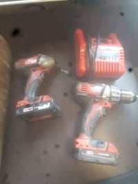 Milwaukee power and impact drill set with hard case