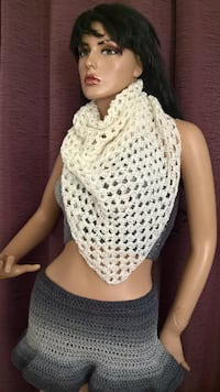 Cream triangle shawl
