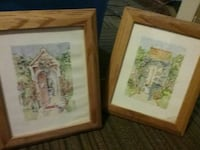 two brown wooden framed houses paitning 595 mi