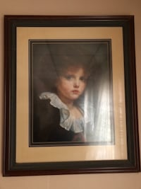 brown wooden framed painting of woman BROCKTON