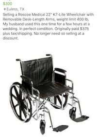 Large size wheelchair. Info on photo. $300 obo. Please no lowball offers as this is near brand new.  Euless, 76039