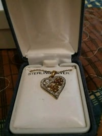 silver-colored and gold-colored heart pendant necklace Albia, 52531
