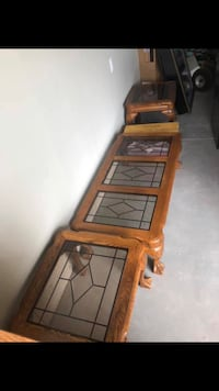 Oak tables with glass top Ingersoll
