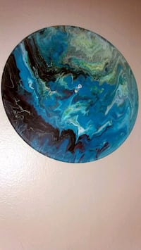 blue and black vinyl painting handmade