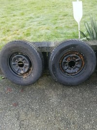 Pair trailer tires on rims.  Surrey, V3R 2C6