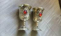 2 Chinese shot or sherry glasses, silver