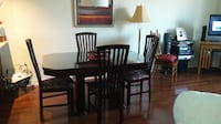 rectangular brown wooden table with four chairs dining set MONTREAL