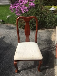 brown wooden framed white padded chair Toronto