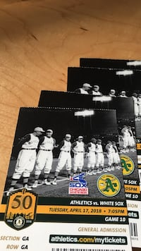 Athletics tickets vs White Sox, April 17, general admission