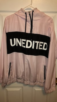 """Pink Windbreaker with """"unedited"""" text 552 km"""