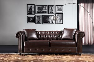 New Brown Chesterfield 3 pc sofa set couch