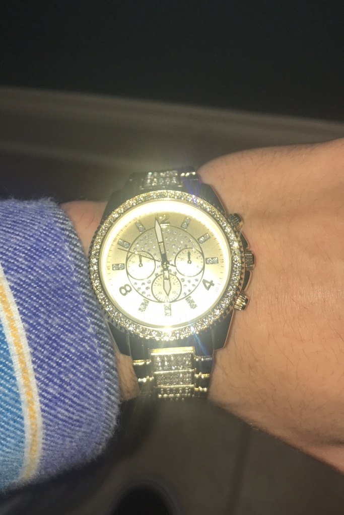 Photo 14k gold and real crystal watch
