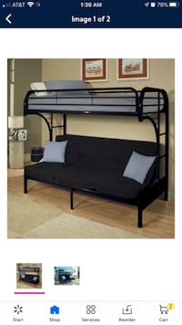 BunkBed w/ Twin Mattress On Top & Queen size Futon in bottom