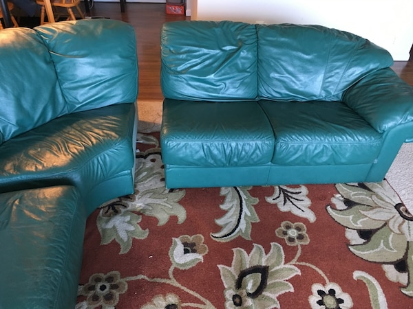 4-section Green couch. Willing to negotiate  aca95281-4e7e-4531-98d3-d09870a8e807