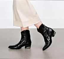 Zara Women's Size 6 Black leather western cowboy Zipped ankle boots MEW TAG