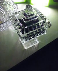 Crystal candy dish with top Orange
