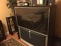 black wooden framed glass top TV stand St Catharines, L2W 1C4