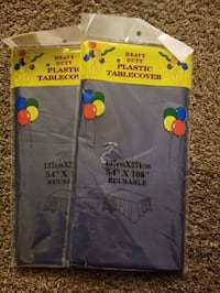 3 Navy Blue Plastic Table Covers