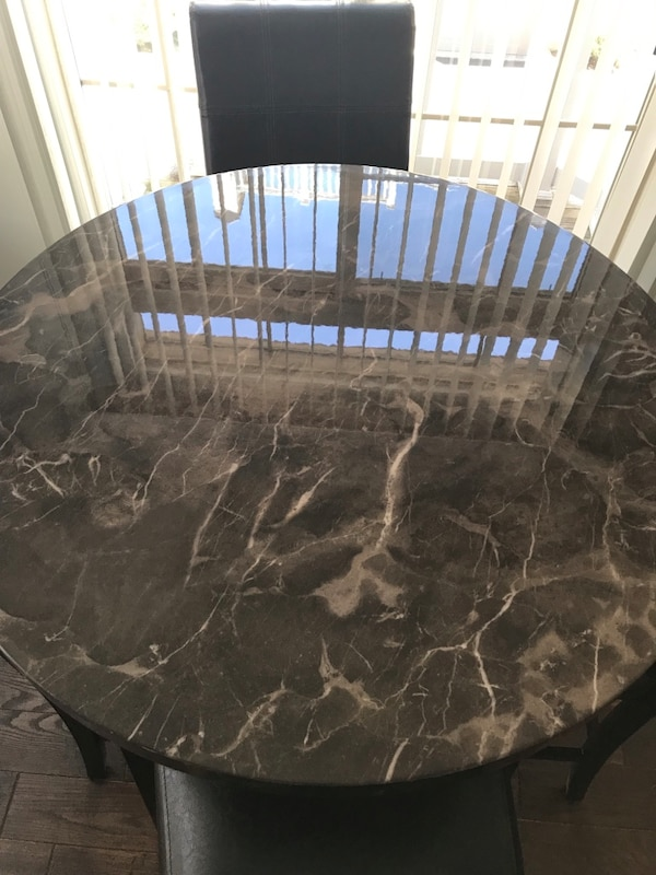 Marble-Topped Bar Table and Faux Leather Stool Set 4c3fbde0-7f2c-436d-a236-0c3ead29297c