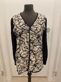Double sides marble pattern wool cardigan M