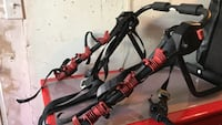 red and black bicycle rack