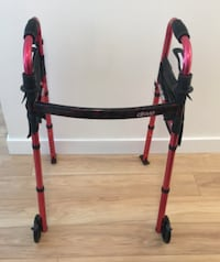 black and red rollator walker