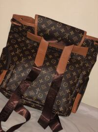 Brown louis vuitton monogram leather tote bag 1407 mi