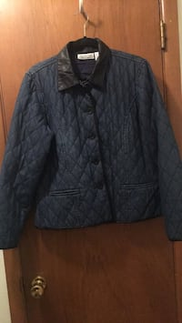 Quilted denim jacket with black buttons and collar Norman, 73071