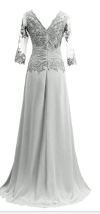 Silver Lace & Chiffon Formal Gown Size 14 (runs small) Tomball