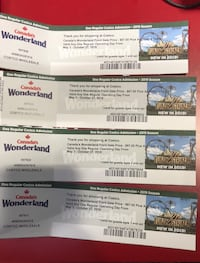 Canada's wonderland tickets (4) $40 each Whitby, L1R
