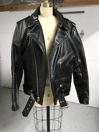 Black leather zip-up biker jacket